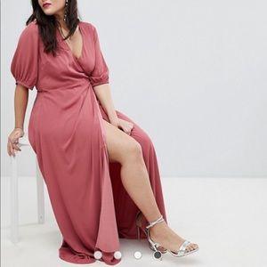 Fashion Union Maxi Wrap Dress With Balloon Sleeves